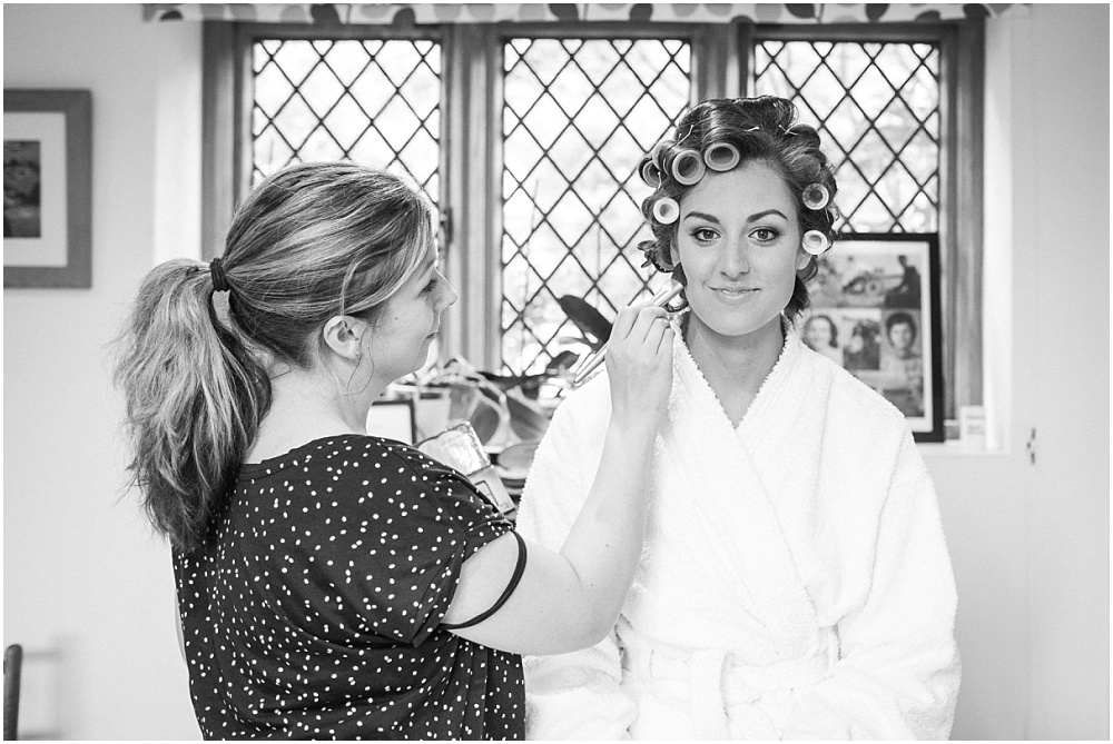 bride with curlers