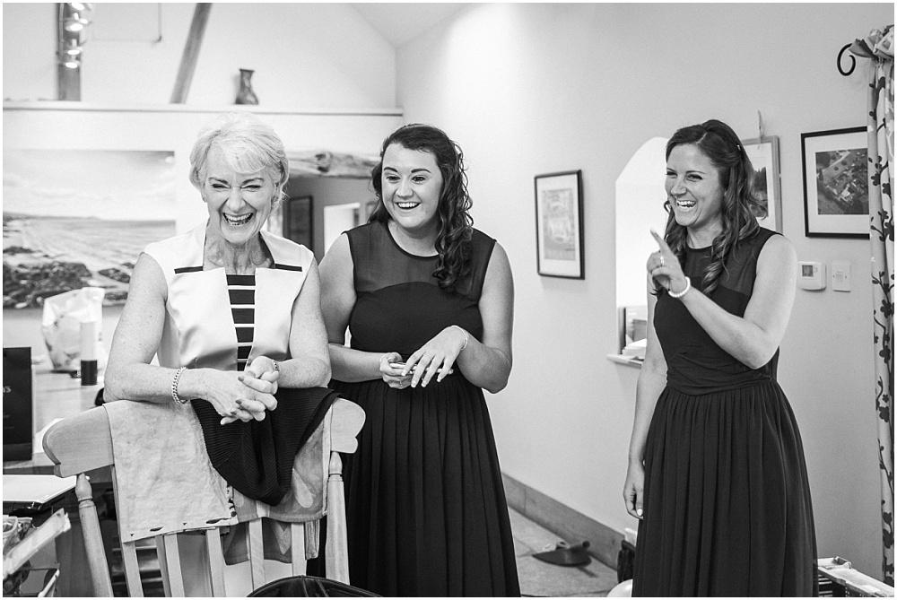 laughing mum during bridal prep