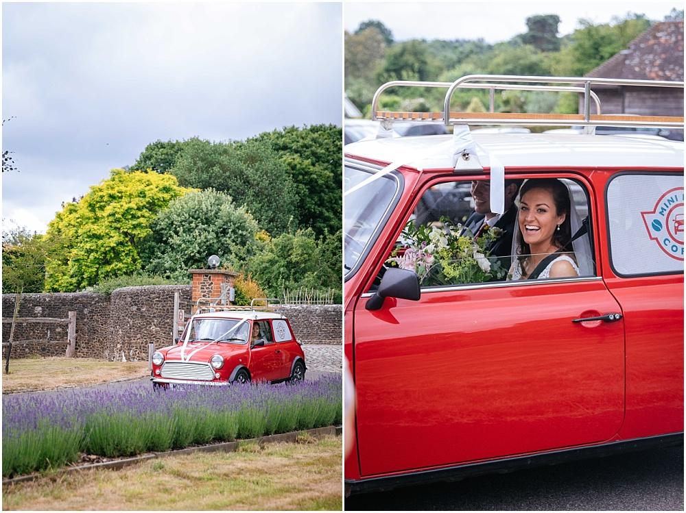 Bride arriving at farm wedding in mini bean mini