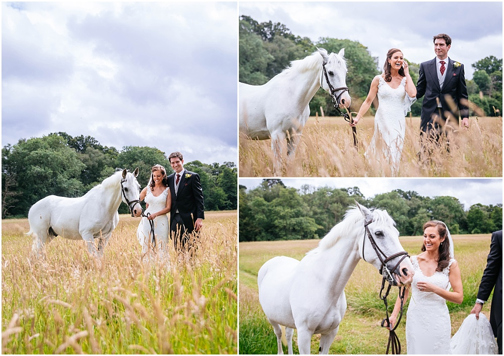 White horse and bride in surrey wedding
