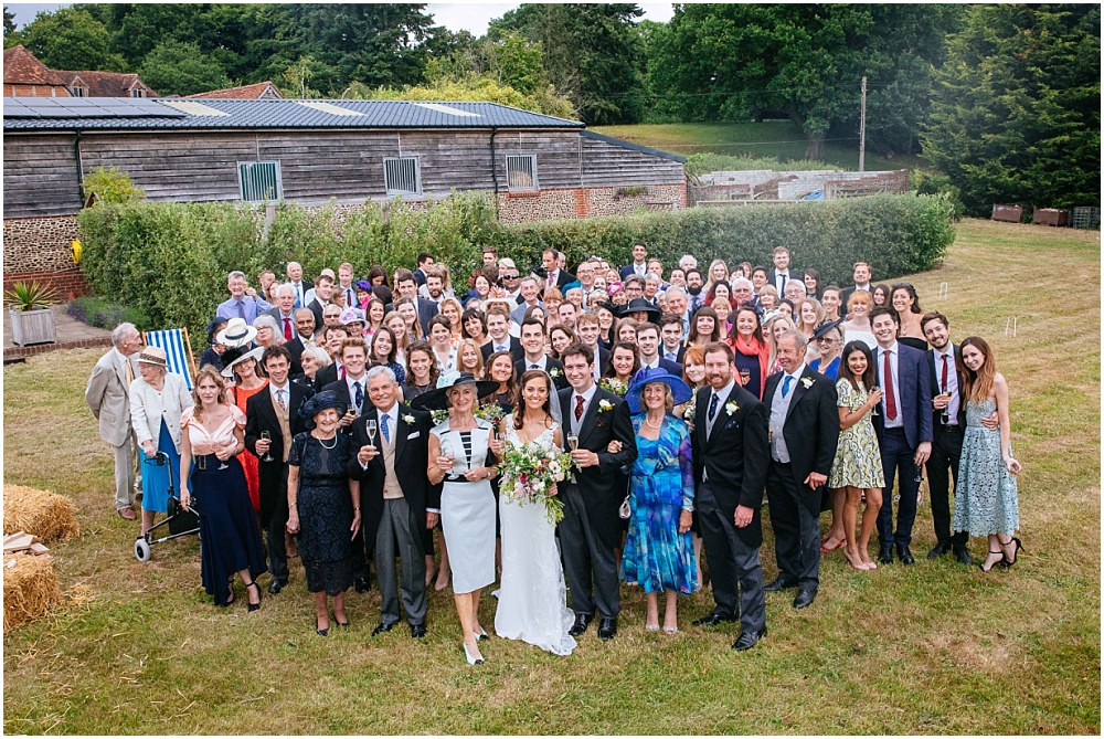 All guests at farm wedding in tilfrod surrey