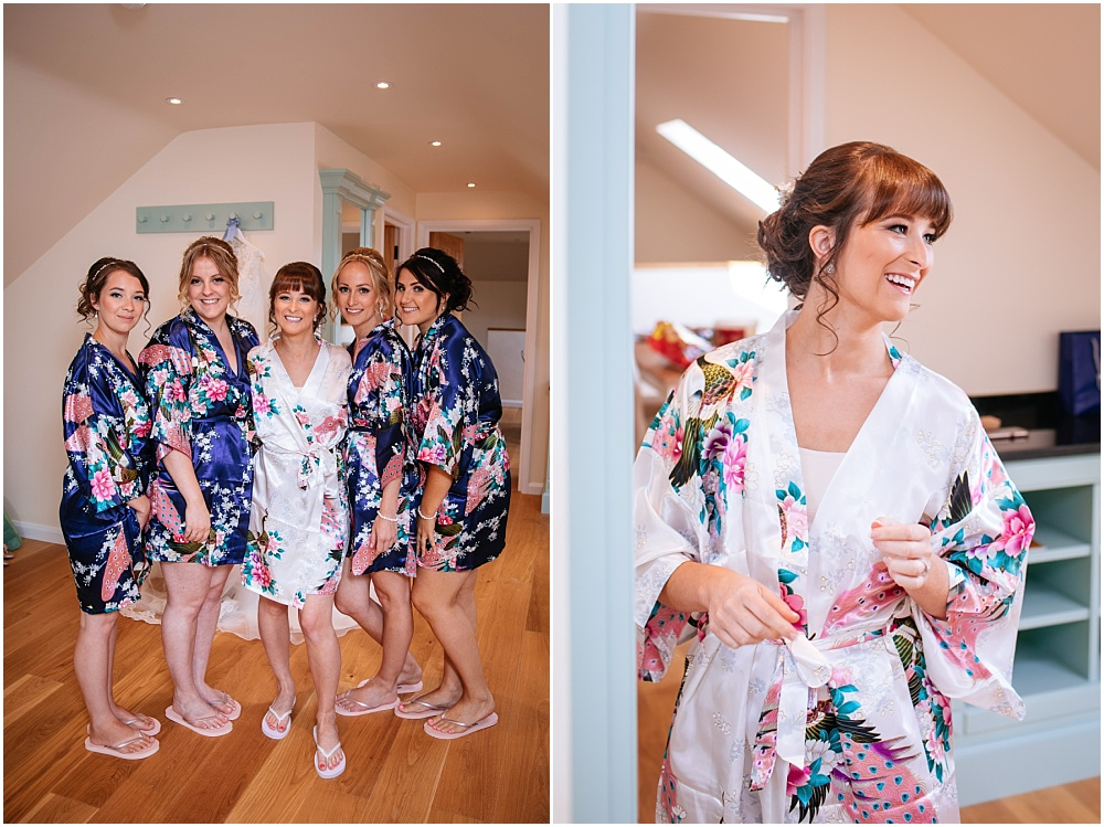 Bride and bridesmaids in matching gowns