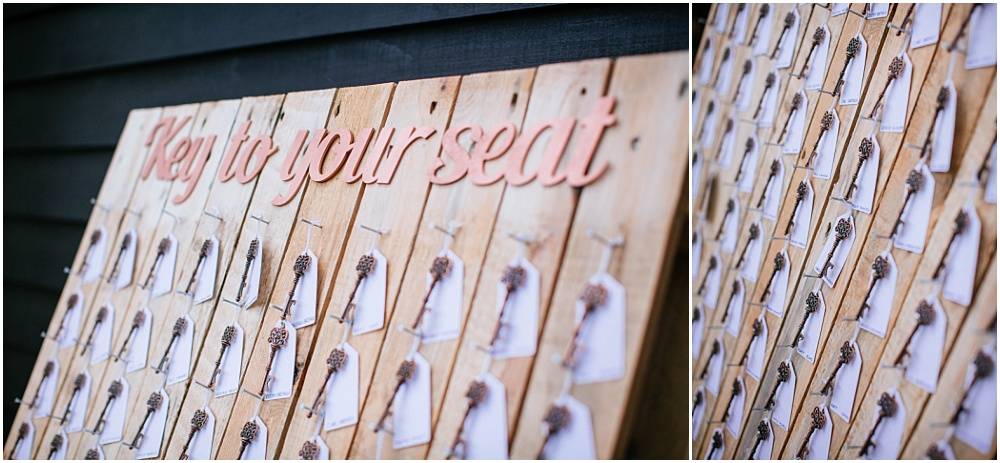 Table plan for wedding with real keys