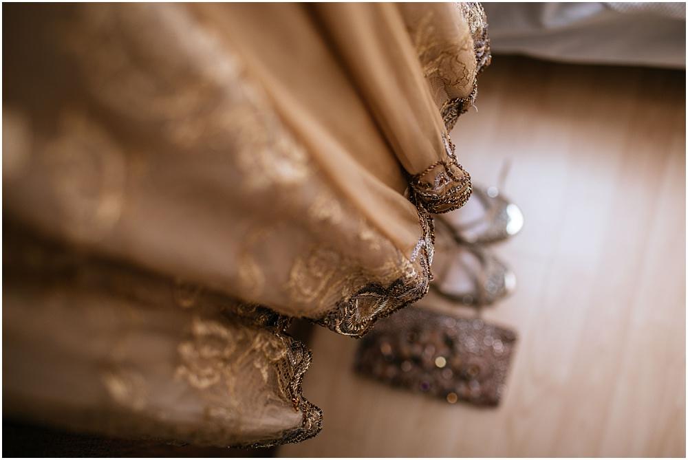 Indian wedding dress hanging up