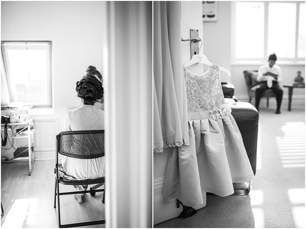 Black and white photos of bridal prep