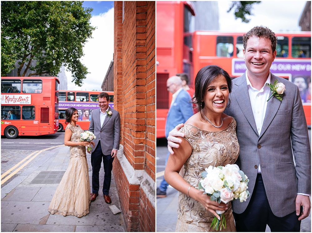 Bride and groom in front of london bus