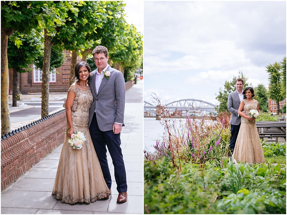 Bride and groom portraits in barnes by the river