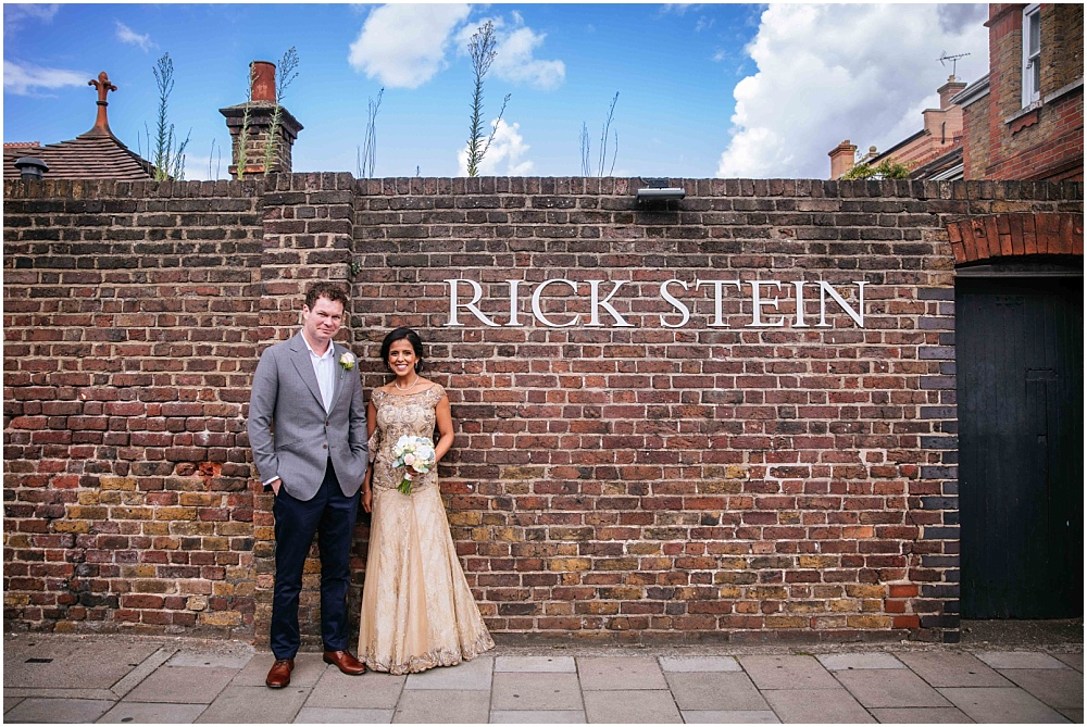 Bride and groom outside depot rick steins barnes restaurant