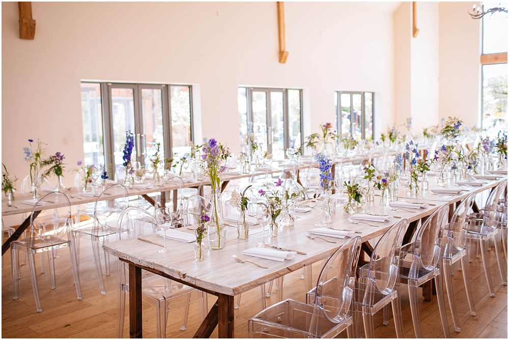 Millbridge court wedding breakfast with long tables