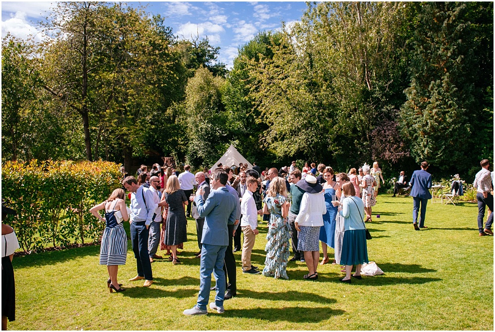 guests at sunny wedding in Surrey