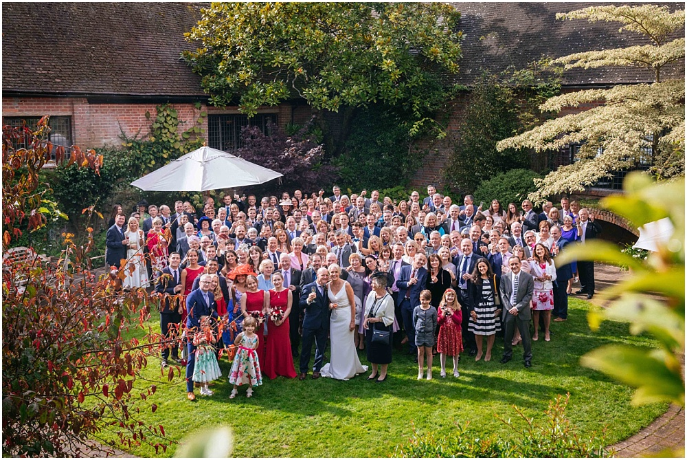 Whole wedding photograph from above outside at Ramster