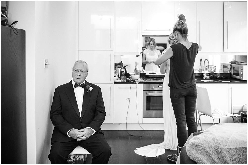 Nervous dad at bridal prep
