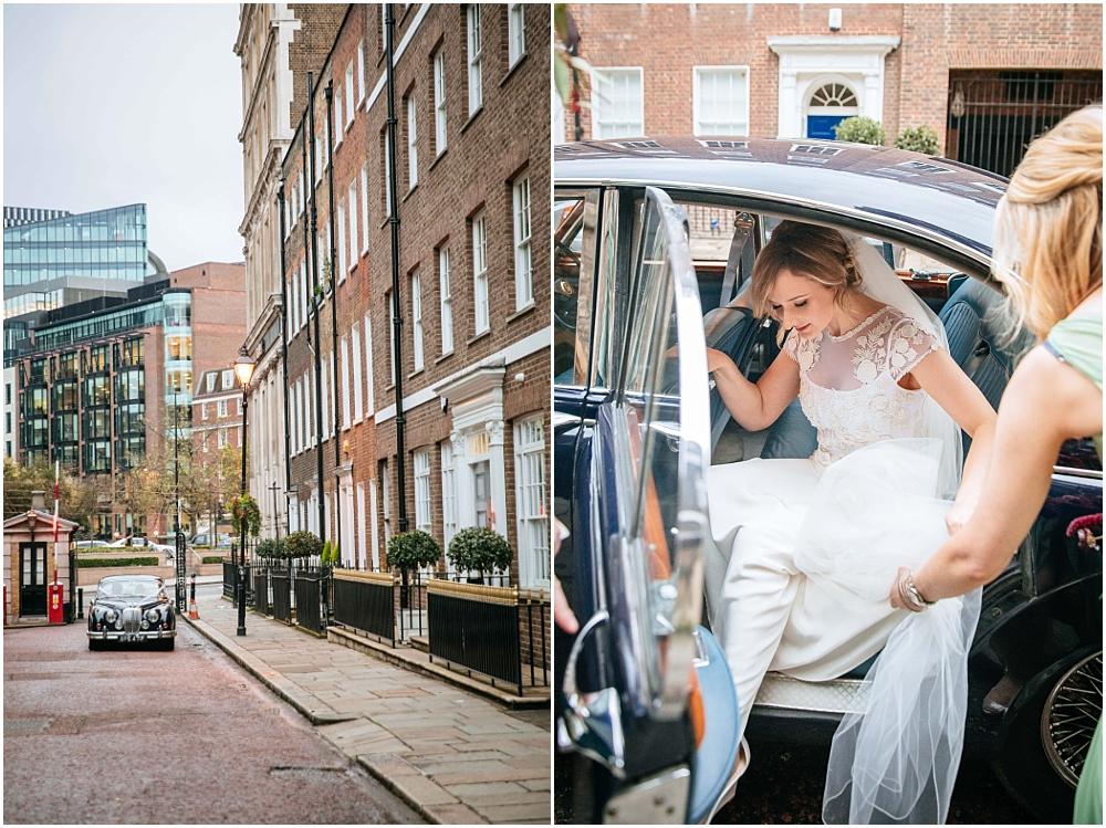 Bride arriving at London church
