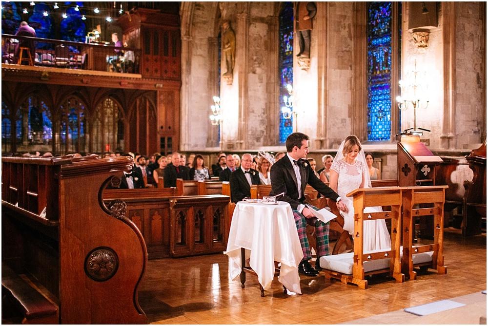 Candlelit winter london church wedding ceremony