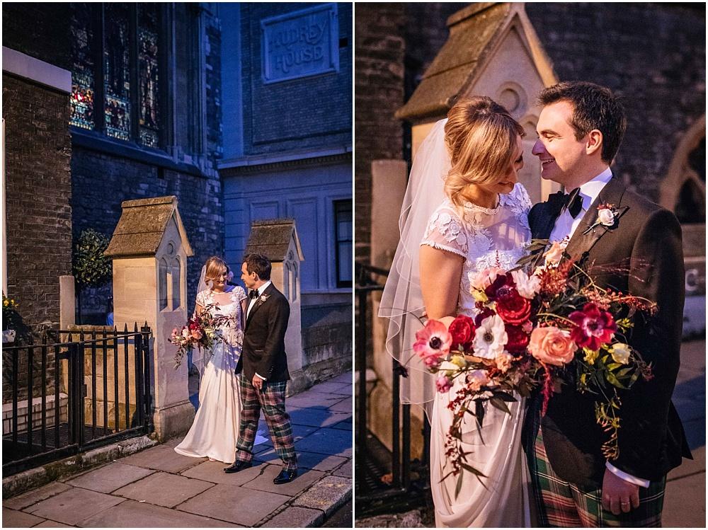 Nighttime wedding photography