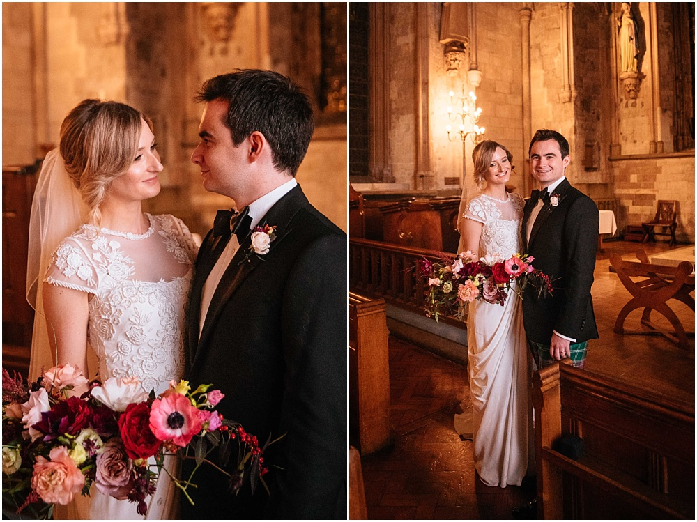 Bride and groom portraits in church