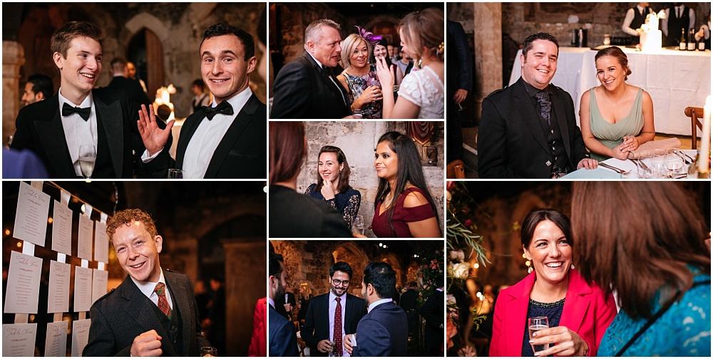 Happy wedding guests joy