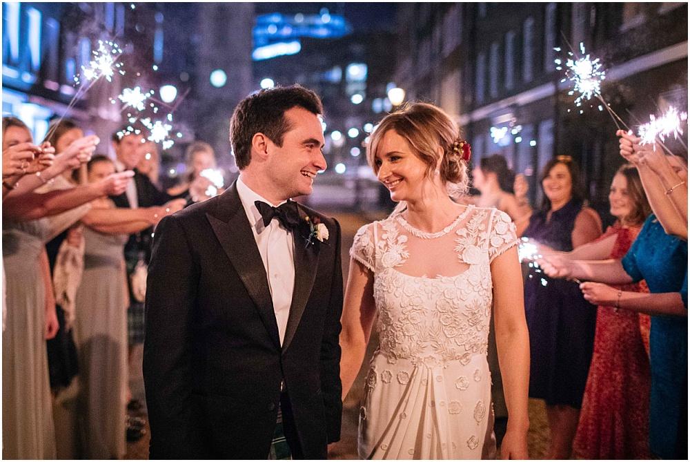 Sparkler exit at november london wedding