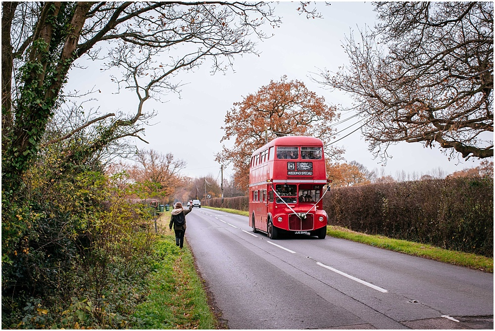 London vintage bus for wedding in surrey