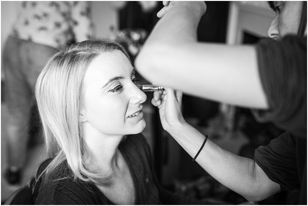 Bride has make up applied by Catherine Legg Make up artist