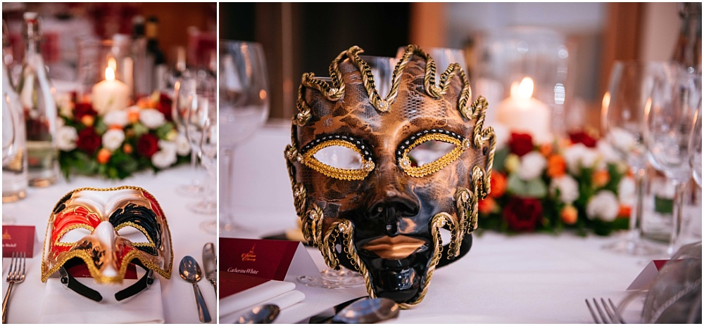masquerade masks at wedding reception