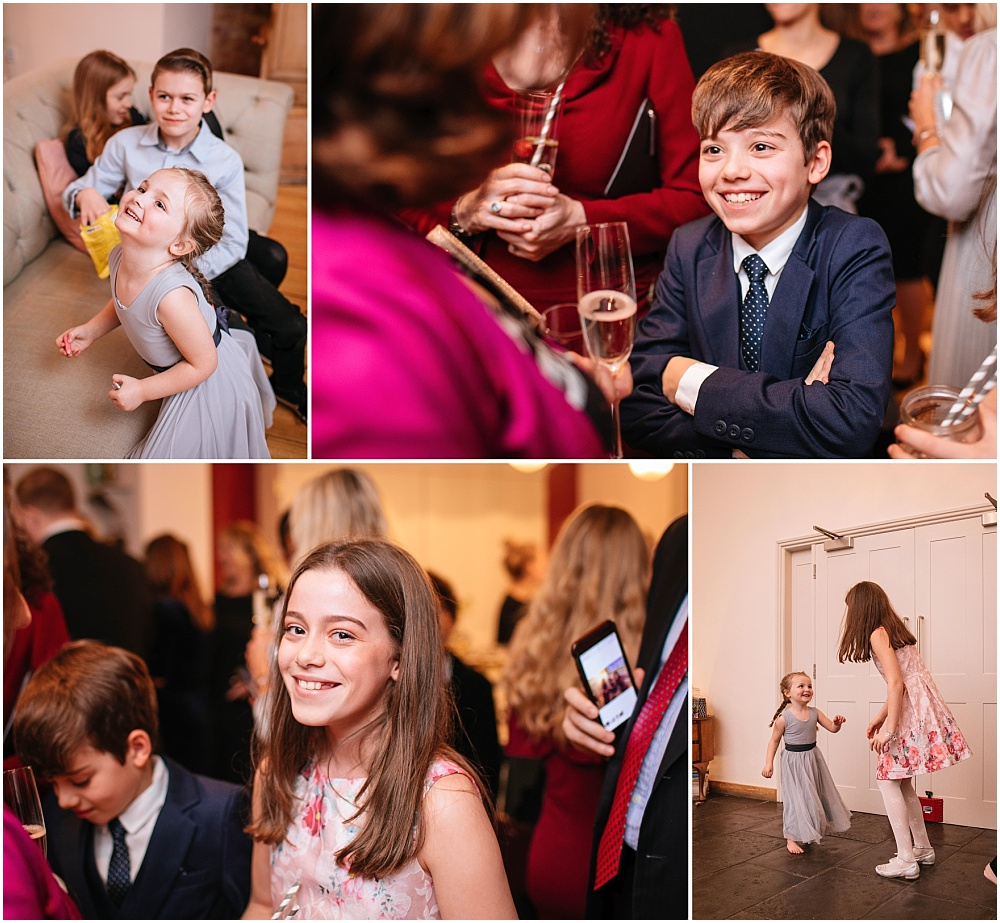 Children having fun at surrey wedding