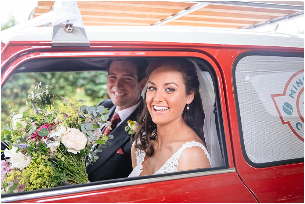 Bride and groom in mini