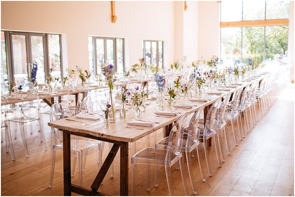 Millbridge court wedding breakfast long tables