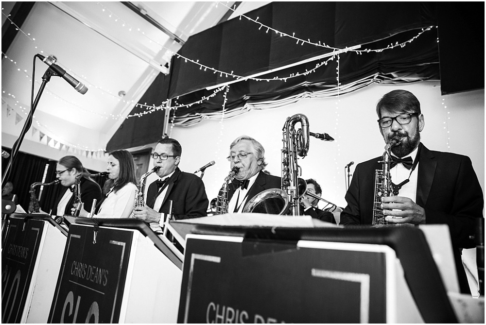 Big band at village hall wedding in hertfordshire