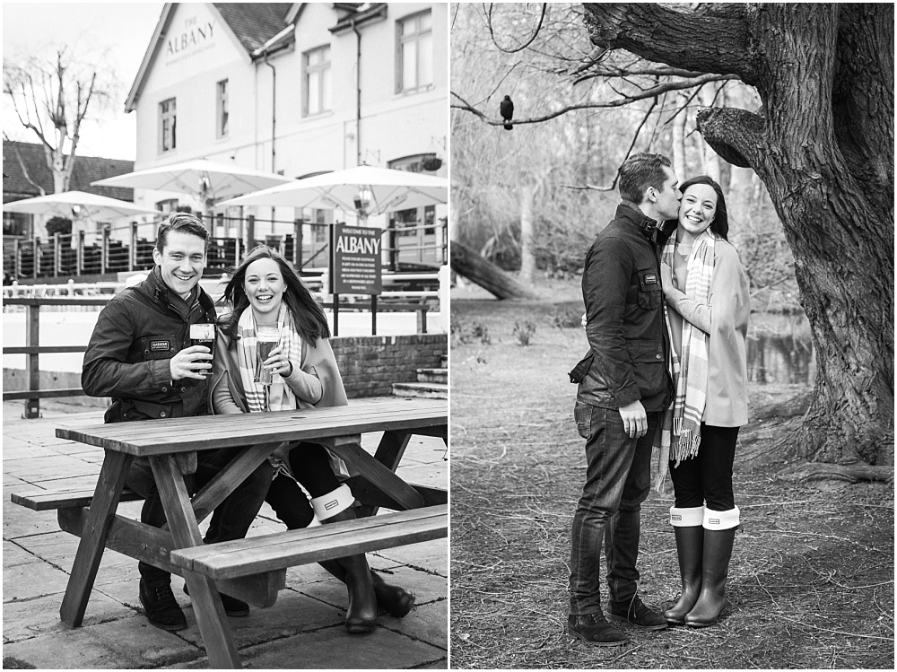 Cheers engagement photo in pub