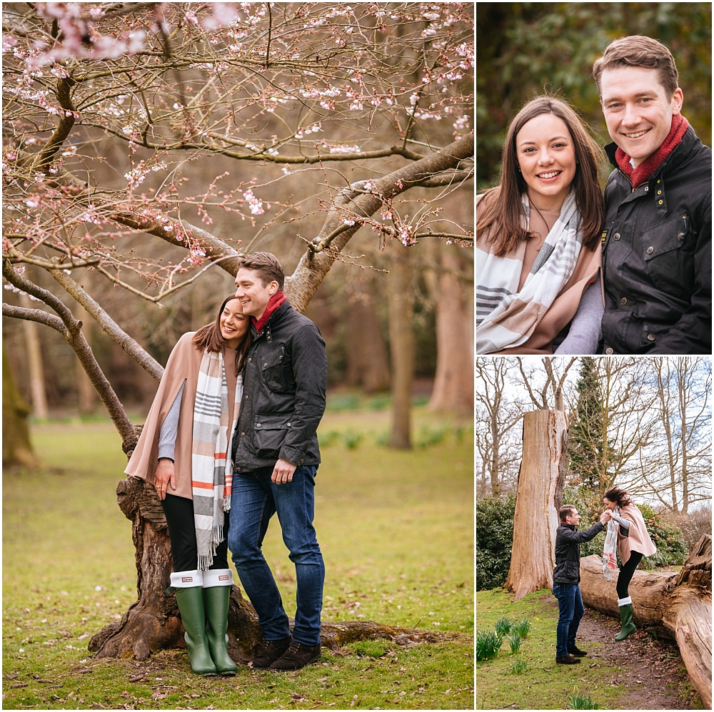 Beautiful engaged couple in spring blossom