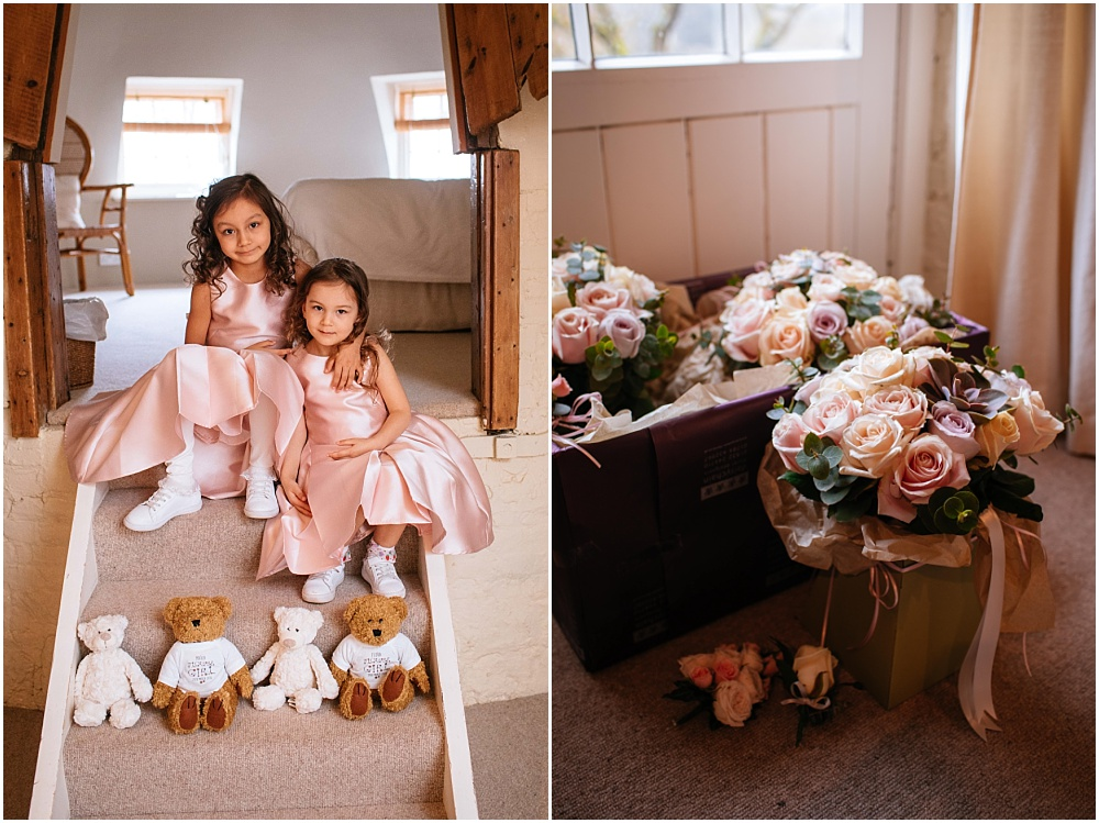 flower girl and bouqyets