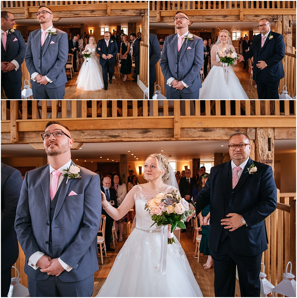 Emotional moment as bride and groom see each other