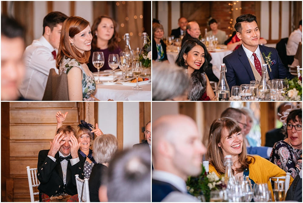 Guests reaction during wedding speechs