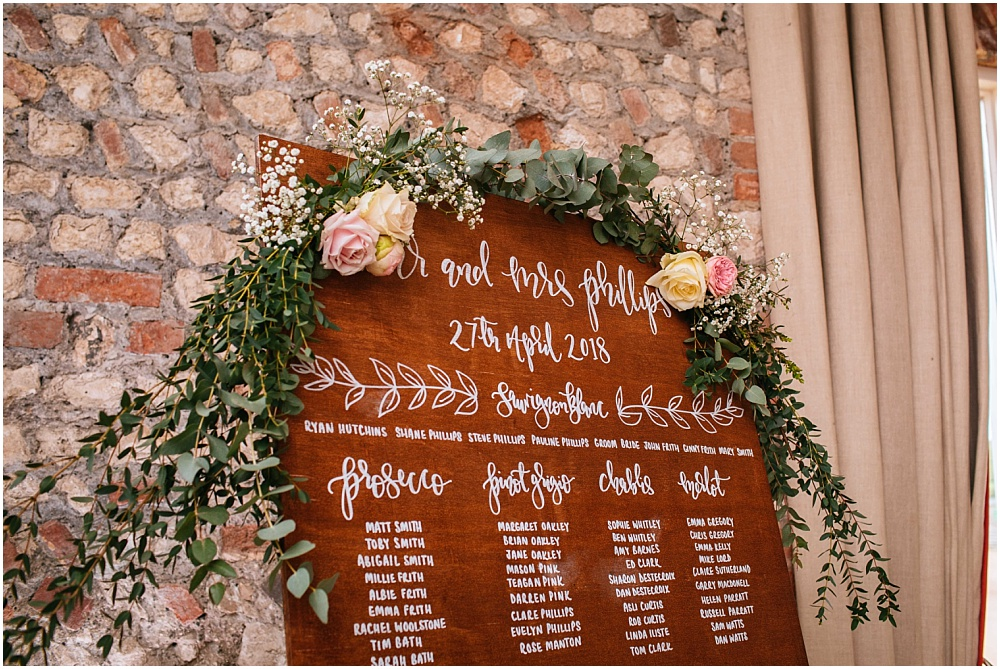 beautiful wood caligraphy flowers table plan