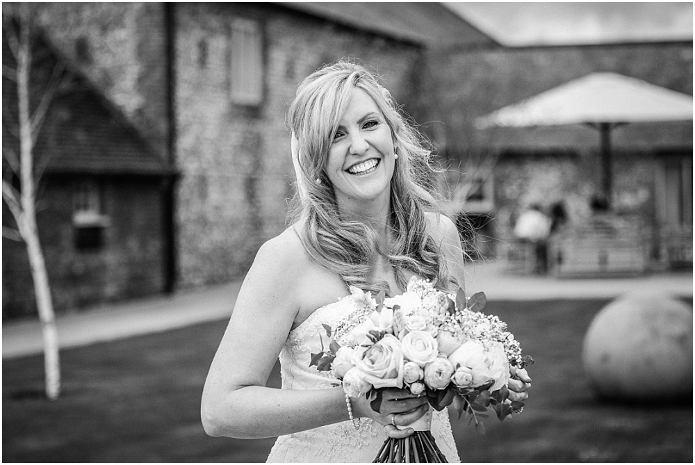 black and white photograph of stunning bride