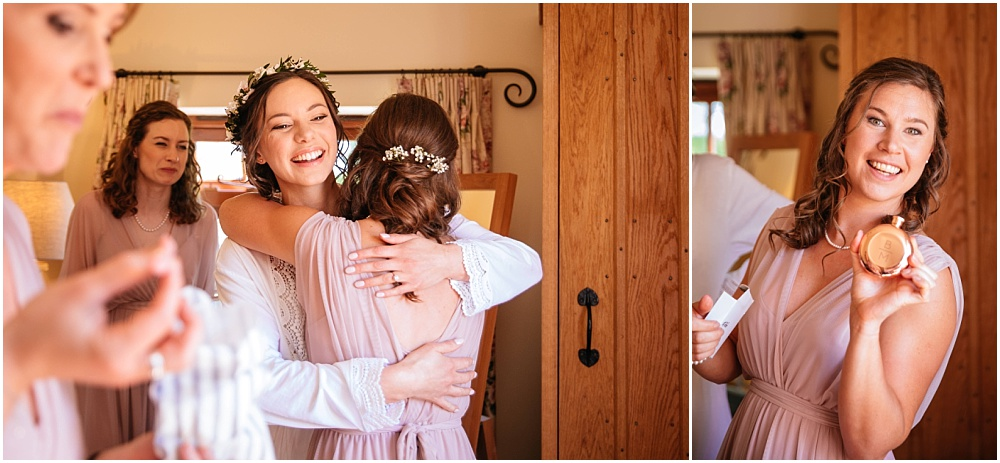 Hug with bridesmaid
