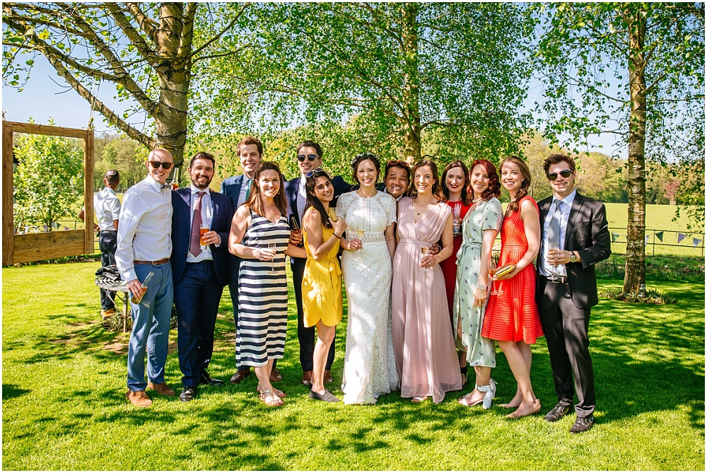 bride and friends in spring sunshine