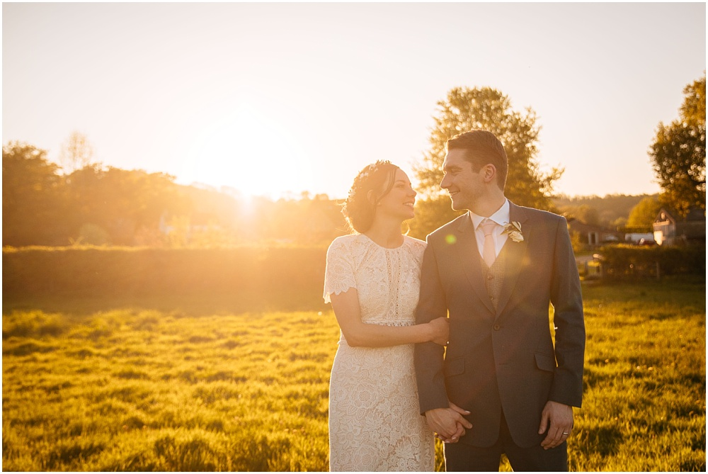 Golden hour couple portraits at gate street barn
