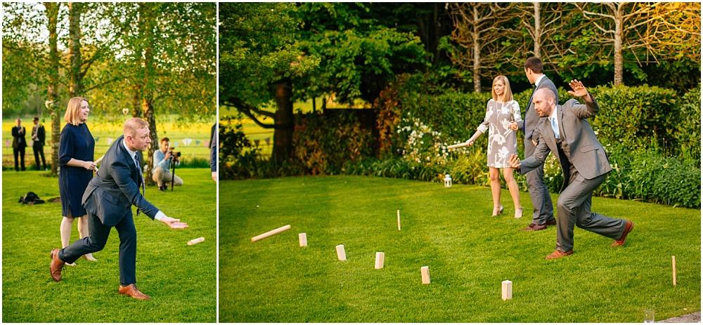Garden games at surrey wedding