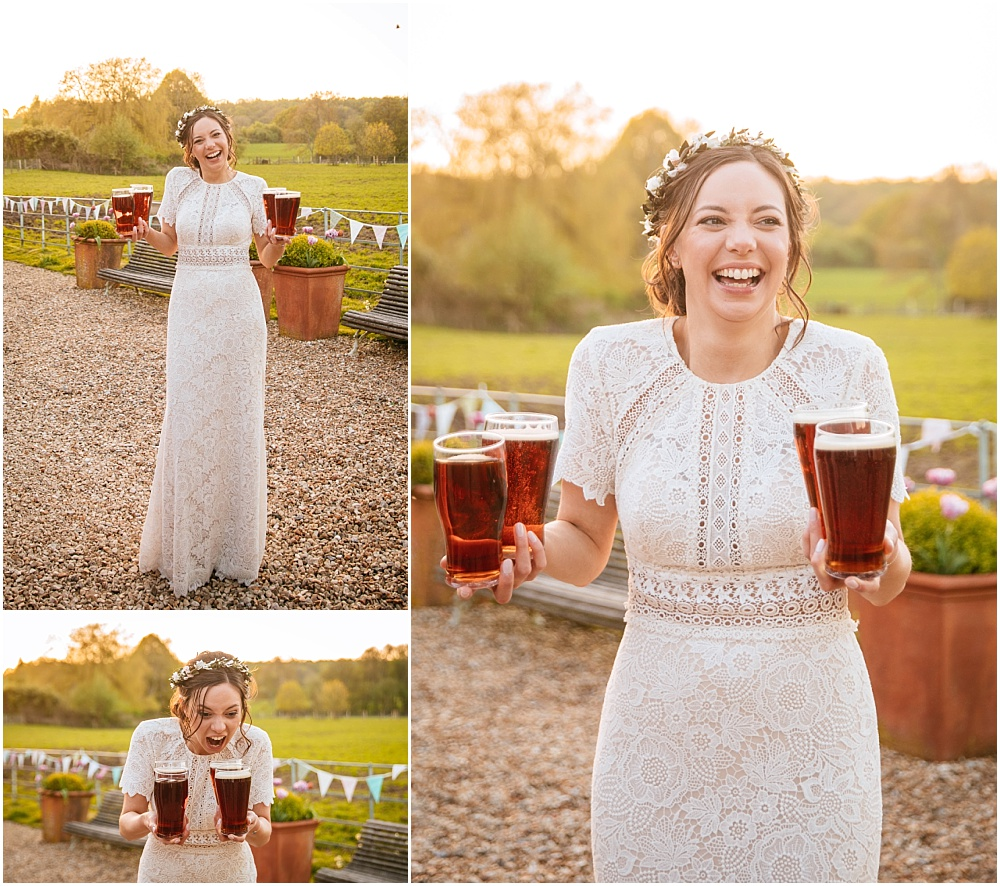 Awesome bride and four pint carry!