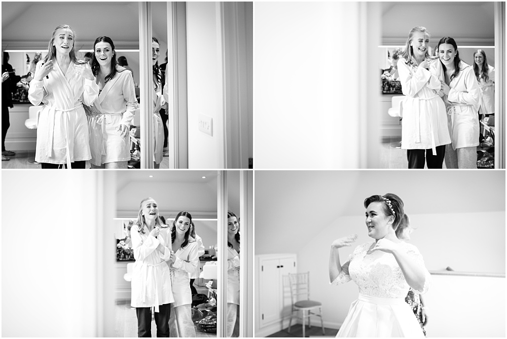 Sister reacting to seeing bride for first time
