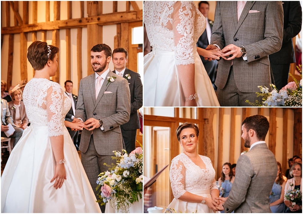 Exchange of rings at hertfordshire wedding