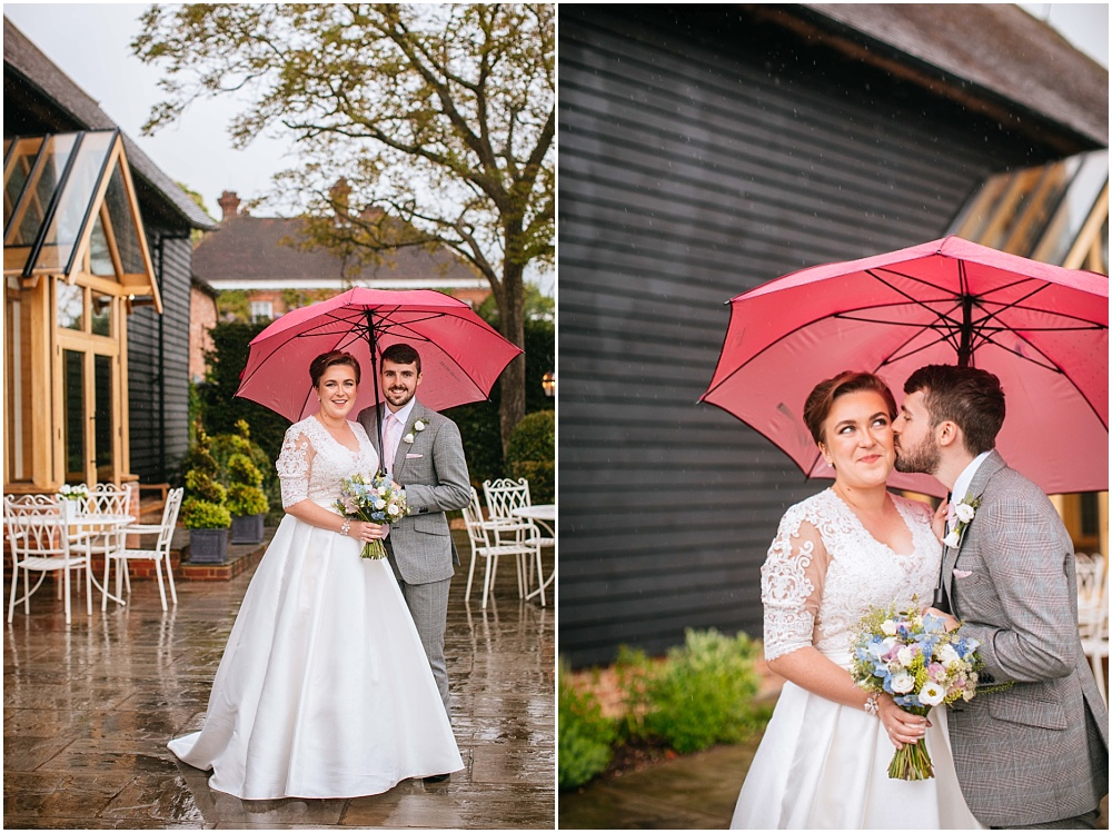 Rainy couple photographs after hertfordshire wedding