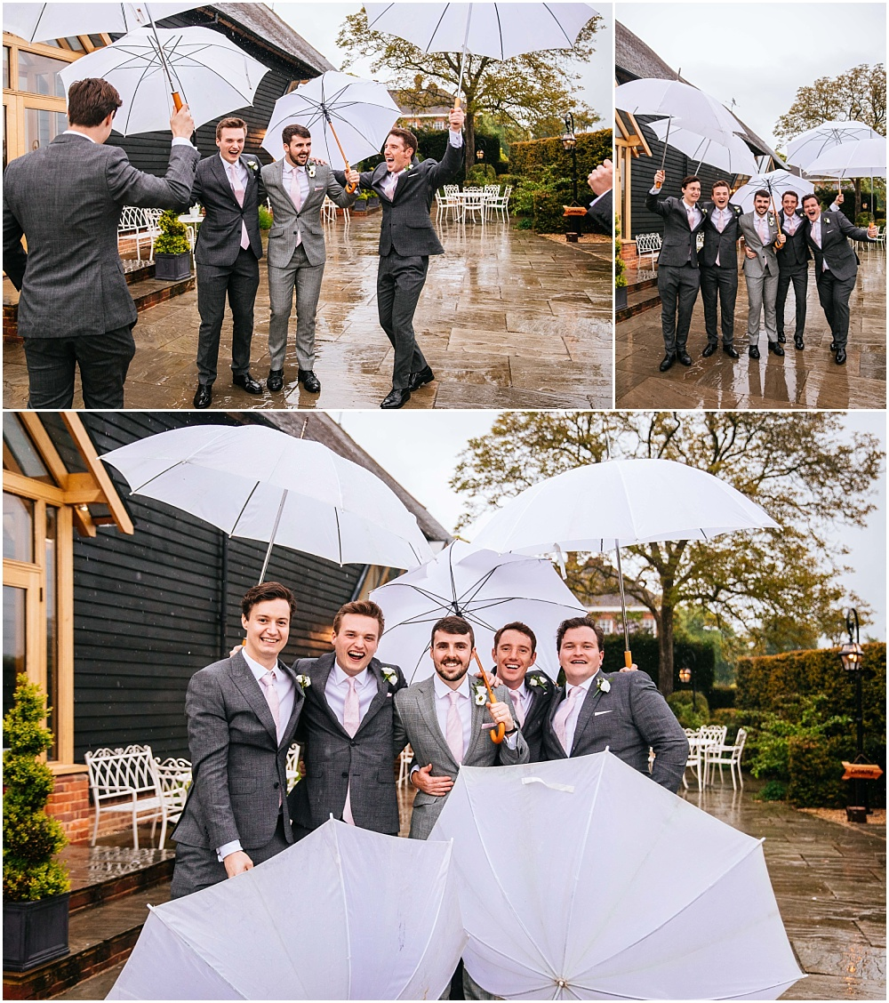 Ushers with umbrellas