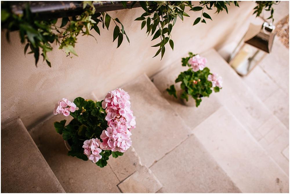 Geraniums in pots at wedding