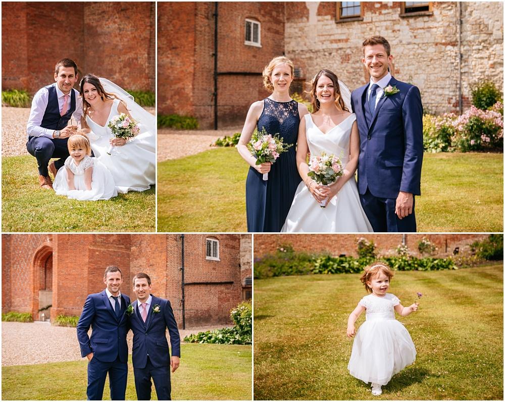 Group photographs at farnham castle wedding
