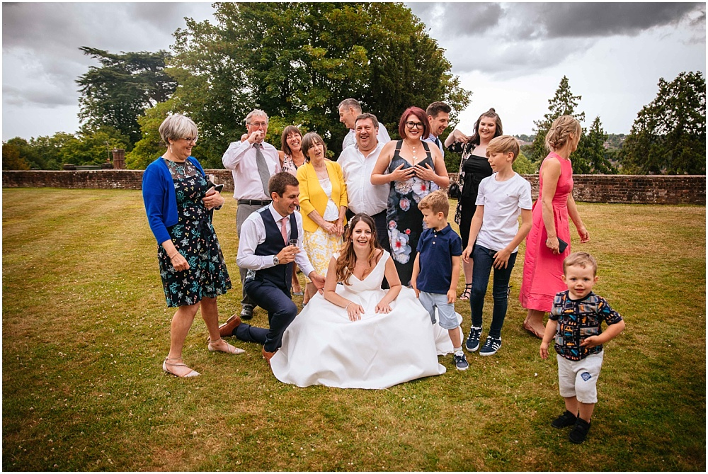 Relaxed group shot at farnham castle