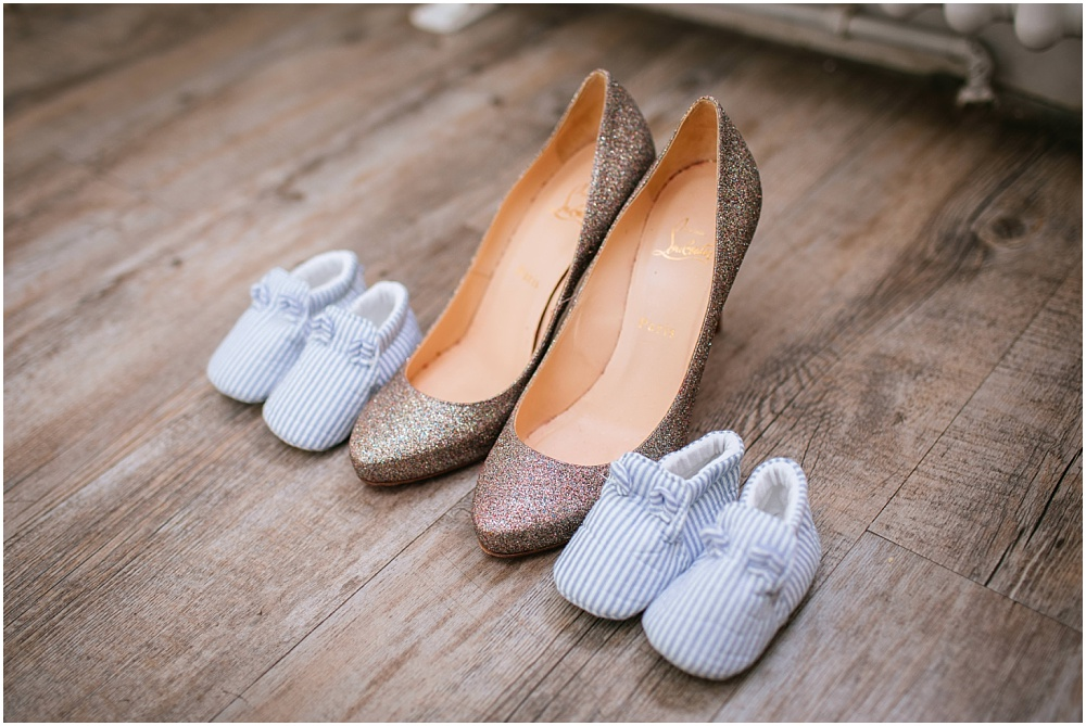 Surrey wedding photographer brides shoes and baby twins shoes