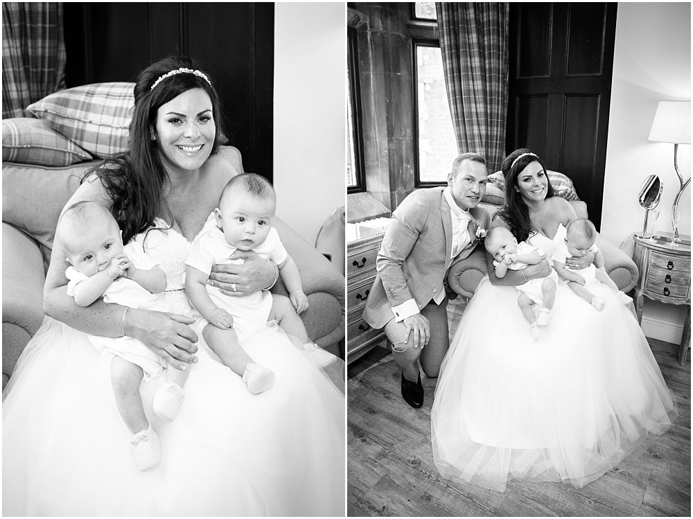 Bride and groom and baby twins